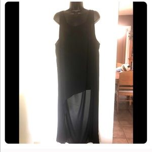 Size 1 (14/16) Torrid Black Sheer High Low Dress